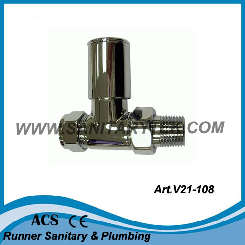 Chrome Straight Radiator Valve (V21-108)