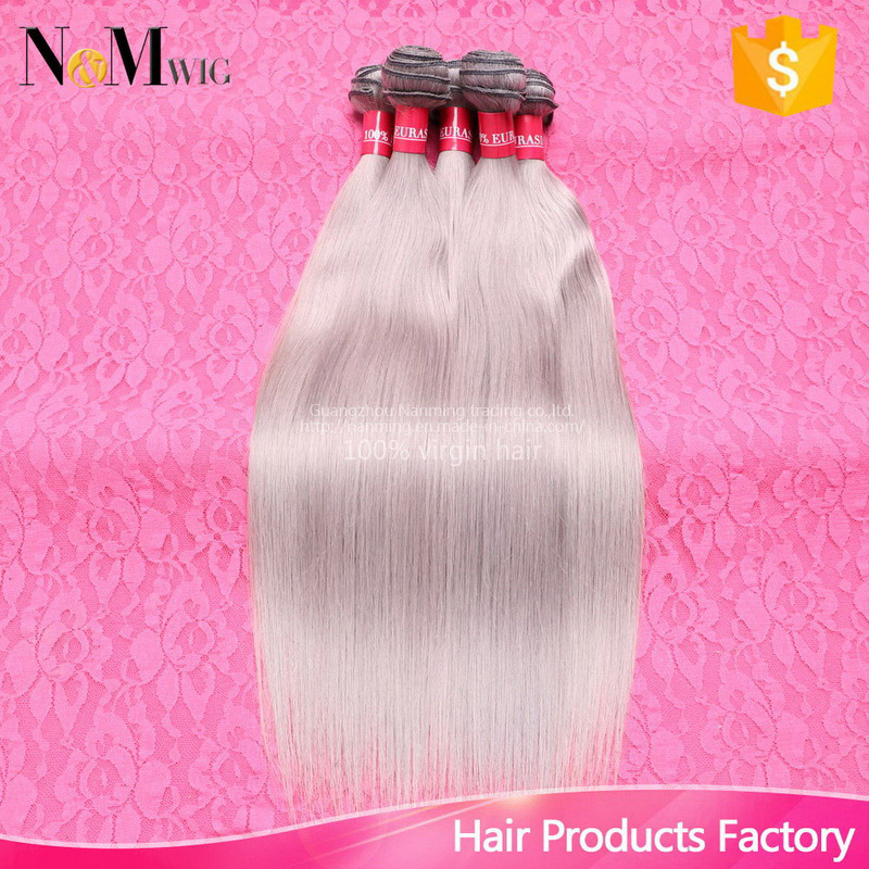 Brazilian Straight Grey Hair Weave Human Hair Weaving Extensions Machine Weft Silky Straight Gray Brazilian Hair