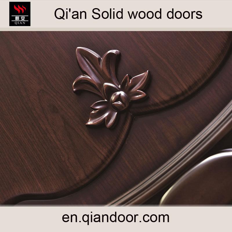 Black Walnut Solid Wood Door Interior Wood Engraved Doors