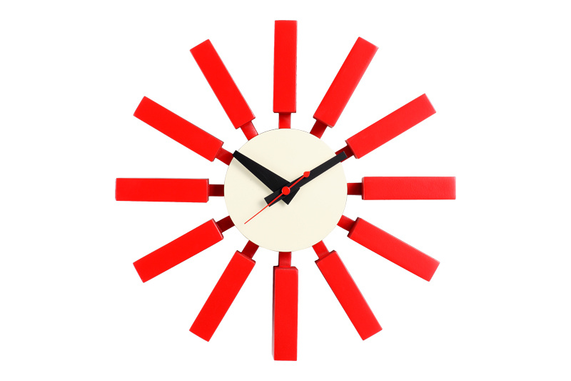 Wood Red Block Wall Clock
