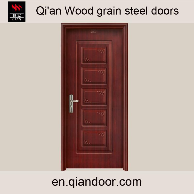 Wood Grain Galvanized Steel Door with Patterns