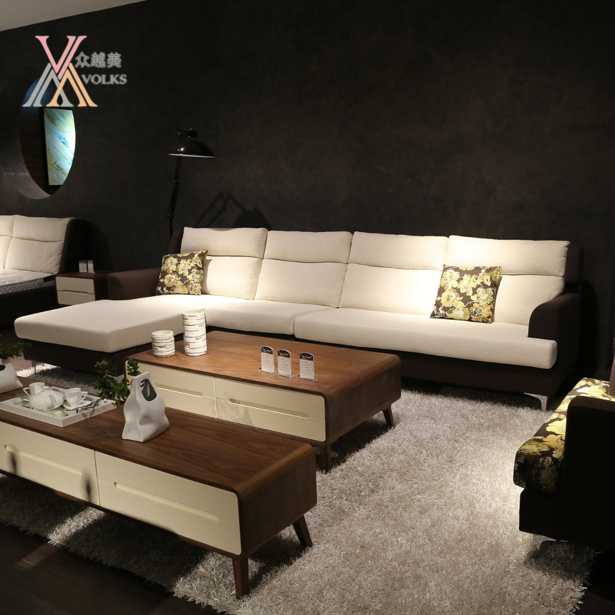 Modern Fabric Leisure Sofa Set with Corner (998A)