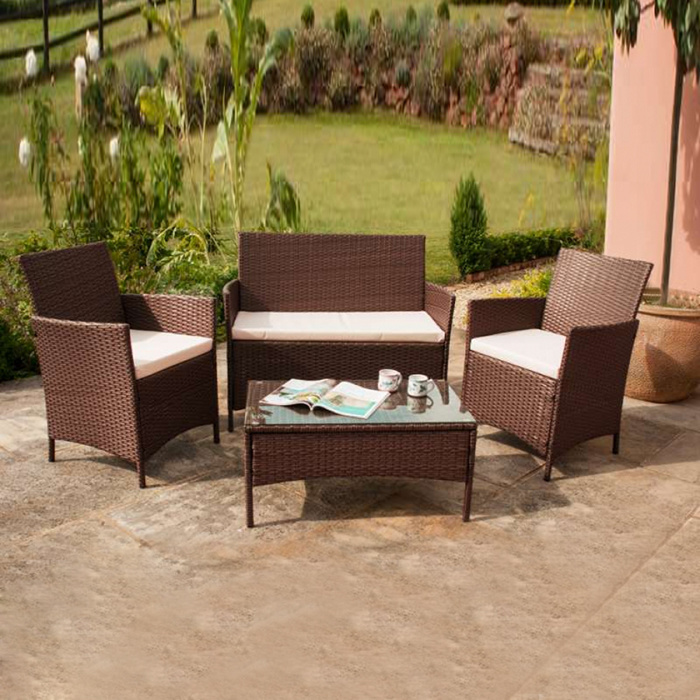 Leisure Garden Outdoor Patio Pool Furniture Wicker Rattan Sitting Room Aluminum Sofa Set
