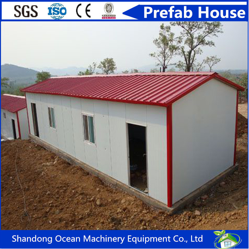 2017 Hot Sell Double Slope Roof Prefabricated Modular House of Light Steel Structure with Sandwich Panel