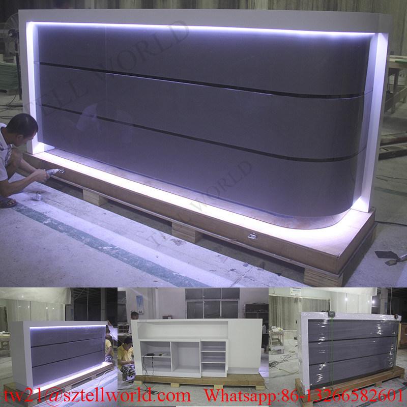 U Shape Translucent Marble LED Light Commercial Bar Counter for Restaurant