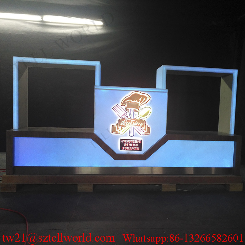 U Shape Translucent Marble LED Light Commercial Bar Counter for Restaurant