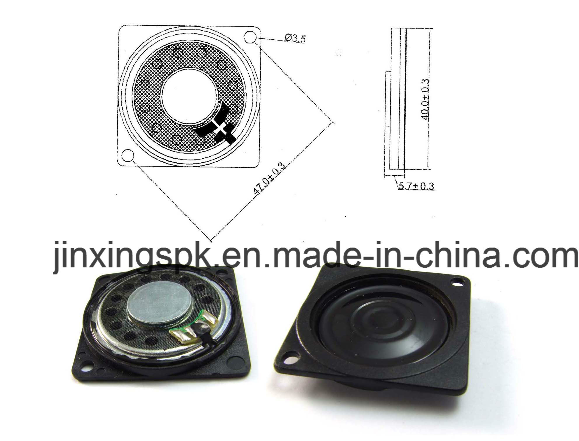 40*40mm Mini Speaker Thin Type Loudspeaker