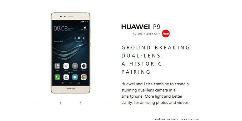"International Firmware Huawei P9 5.2"" Fingerprint Mobile Phone 12MP*2 Hisilicon Kirin 955 Octa Core 3GB RAM 32GB ROM Smart Phone Black"