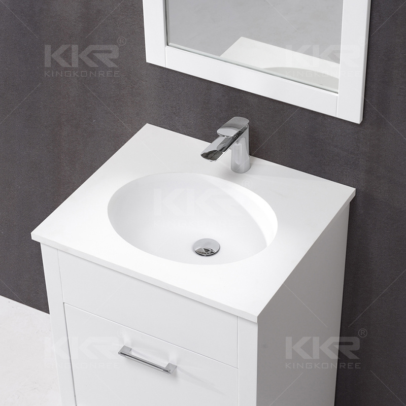 White Solid Surface Marble Bathroom Cabinet Hand Basin