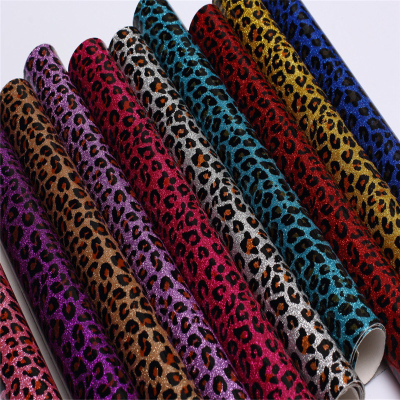 Leopard Print Pattern Glitter PU Leather for Shoes or Bags (HS-M252)
