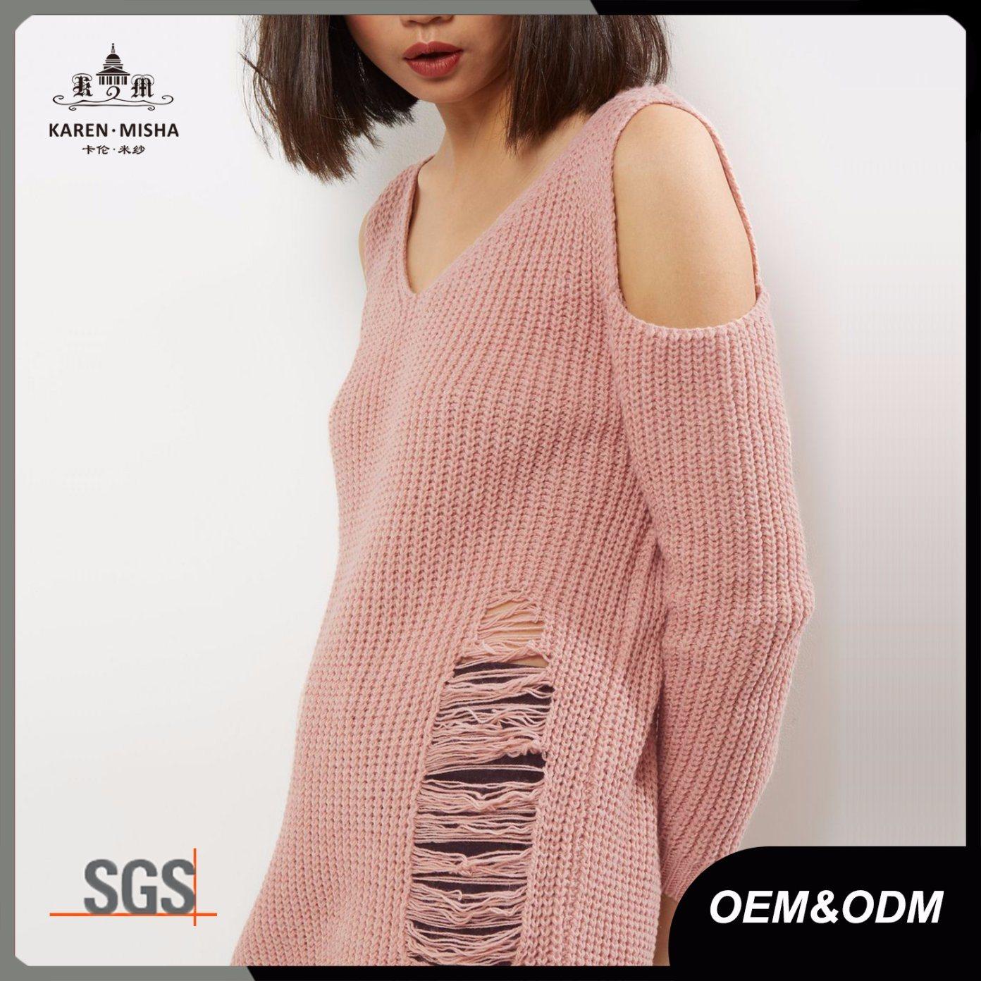 Blush Pink Ladies Cold Shoulder Ladder Knit Jumper Sweater