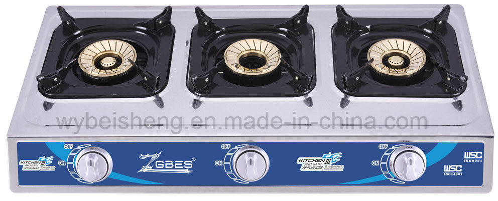 Big Three Burners Gas Cooker, Stainless Steel, Portable