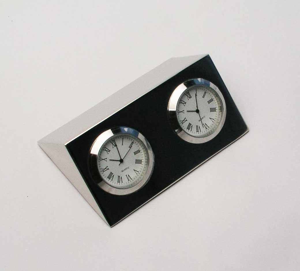 Silver Plated Desk Clock Two Times for Business Gift
