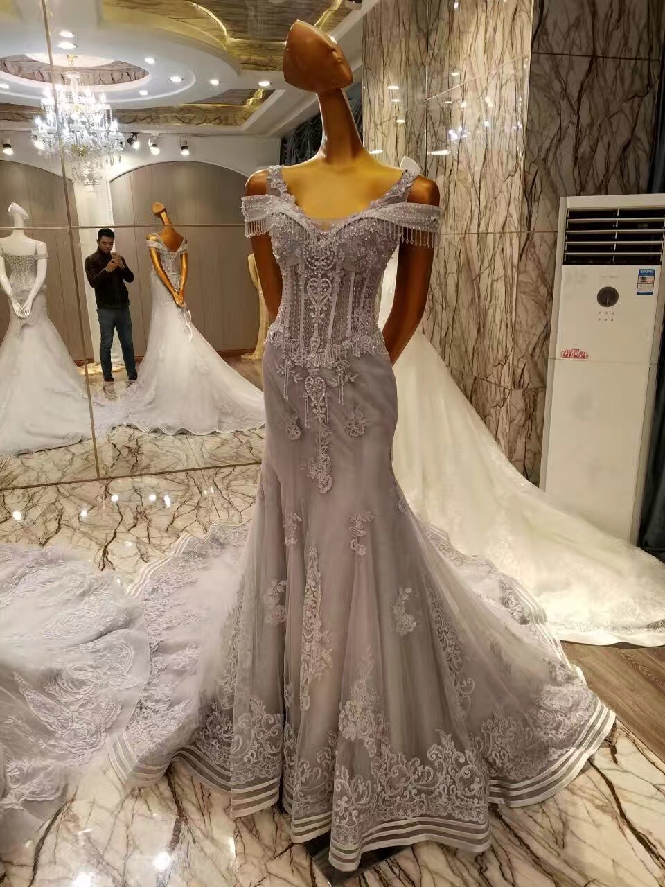 New Arrival 2017 Marriage Grey Long Evening Dresses