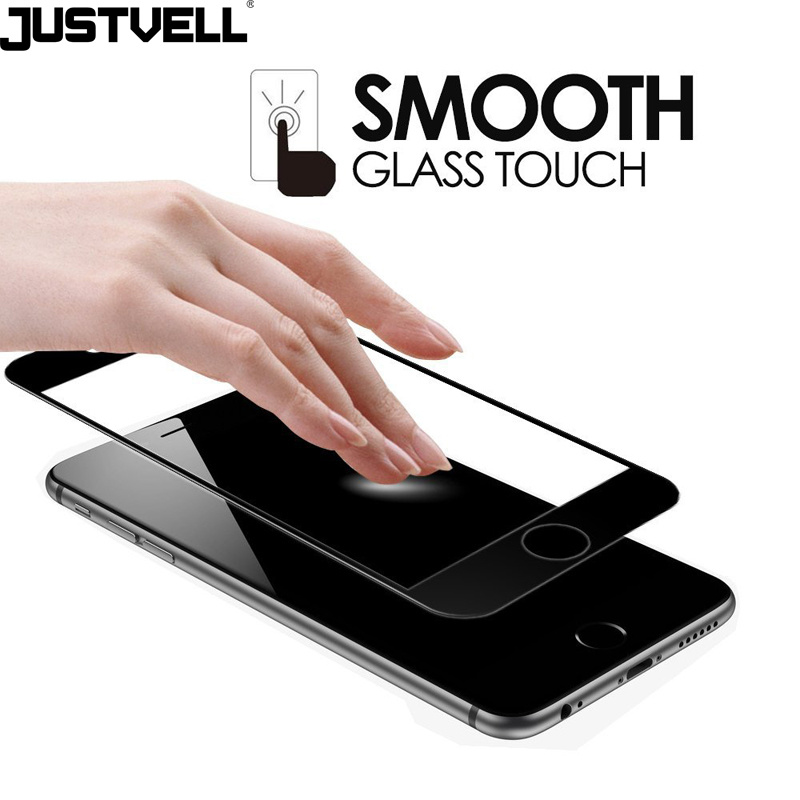 Justvell for iPhone 6 6s 7 Tempered Glass 3D Curved Surface Coverage 0.2mm 9h Screen Protector Full Cover Film for iPhone 7 6 6s