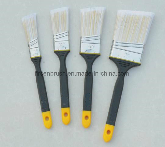 High Quality Tapered Synthetic Filament Paint Brush with Angle Long Sash Rubber Plastic Handle
