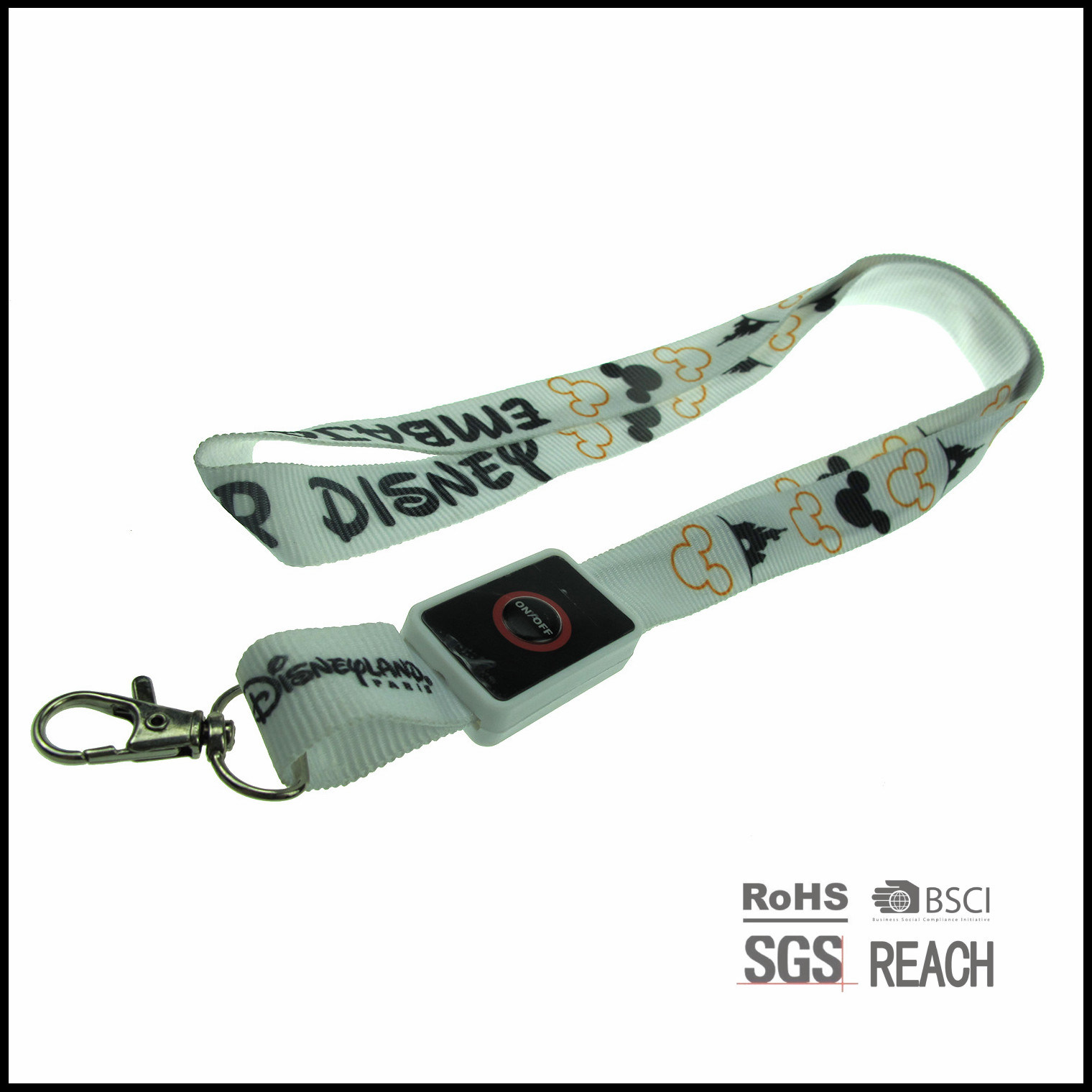 Personalised LED Flash Light-up Neck Strap Event Detachable Lanyard
