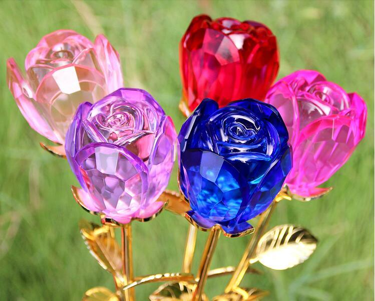 Glass Rose Flower as Wedding Return Gift