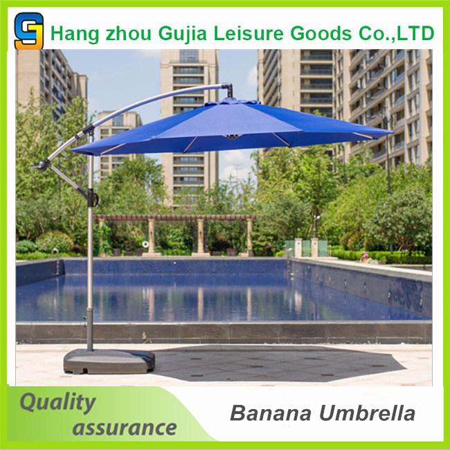 10 Feet Garden Banana Hanging Umbrella 3m Patio Offset Umbrella with Cross Base