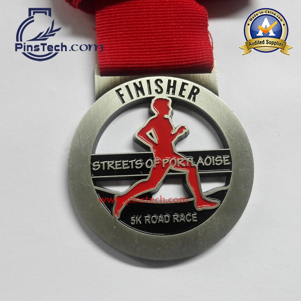 Marathon Run Medal with Spray Painting Finish, Heat Transfer Ribbon