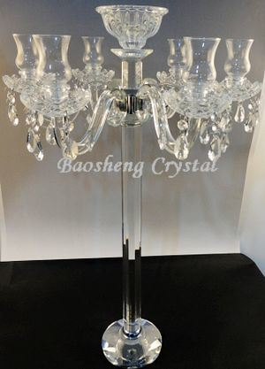China Crystal Centerpieces For Wedding Table 7 Arms Glass Tealight Candle Holder Hurricane Candelabra