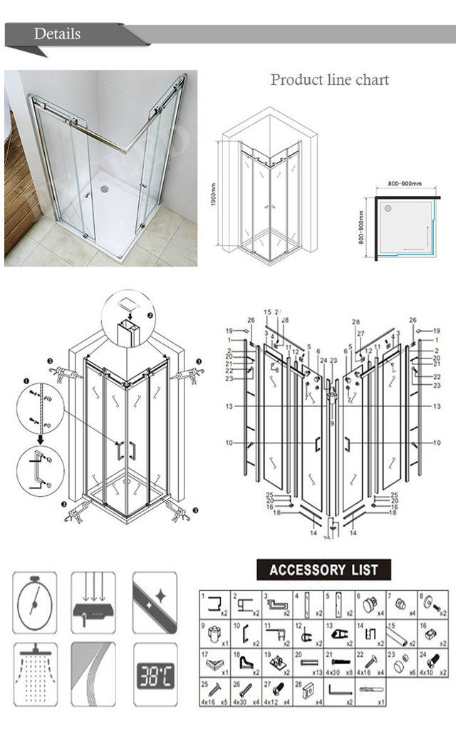 Sliding Glass Shower Enclosure with Fixed Panel