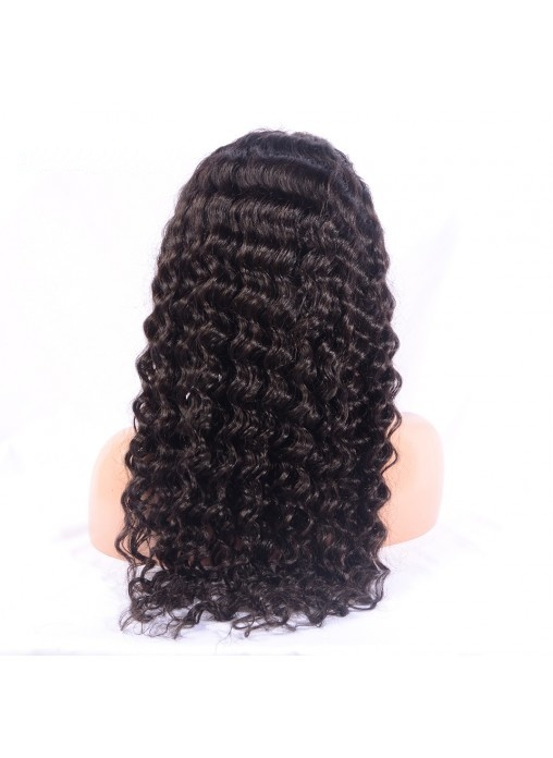 "100% Virgin Indian Human Hair Deep Wave Full Lace Wig 10""-15"""