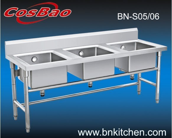 Commercial Triple Sink : China Restaurant Commercial Stainless Steel Triple Sink Bowl - China ...