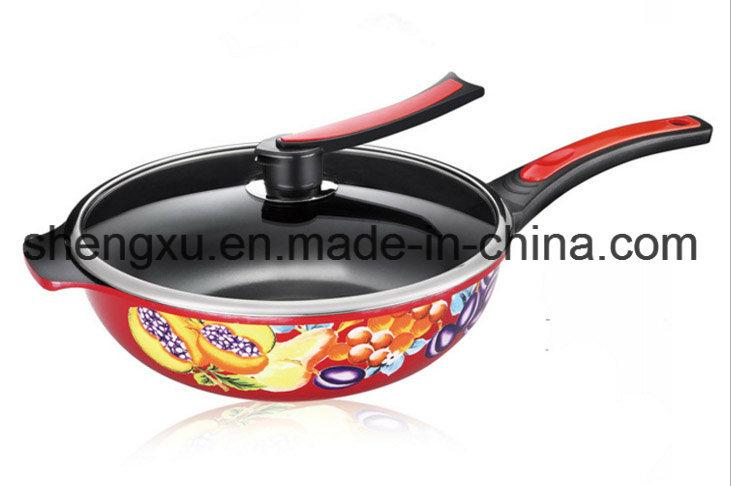 Applique Coated Ceramic Pure Iron Non-Stick Gift Wok Sx-C003
