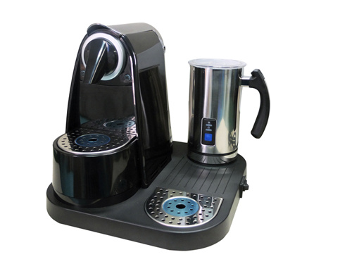 China Dual Function Capsule Coffee Maker With Milk Foamer