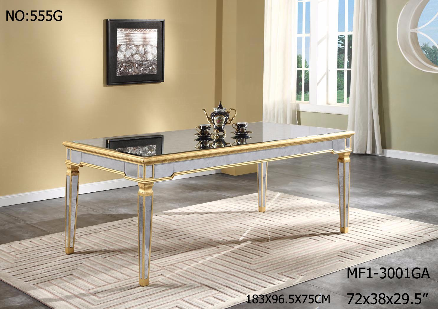 Modern Rectangle Dining Table with Antique Mirror