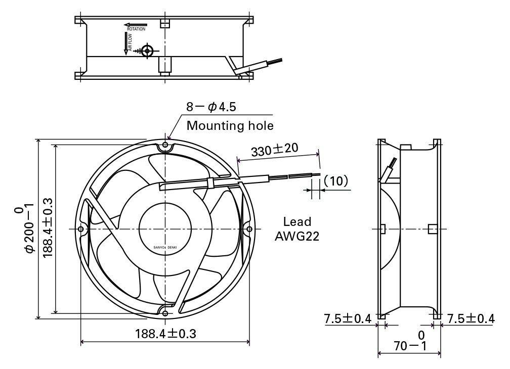 200X200X70mm Aluminum Housing Plastic Impeller DC20070 Axial Fan