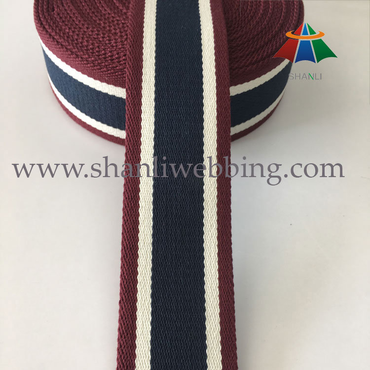 2016 Wholesale Colorized Striped Color Canvas Webbing for Bag Handles and Shoulder Straps