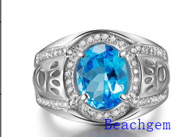 Jewellery-925 Silver Blue Cubic Zirconia Ring for Man (AC278)