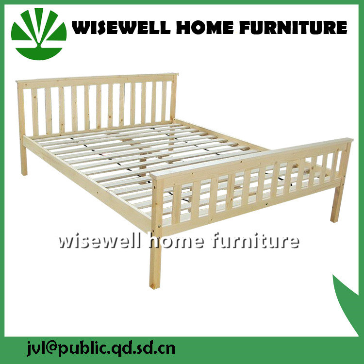 Solid Wood Double Cot Bed (WJZ-B129)
