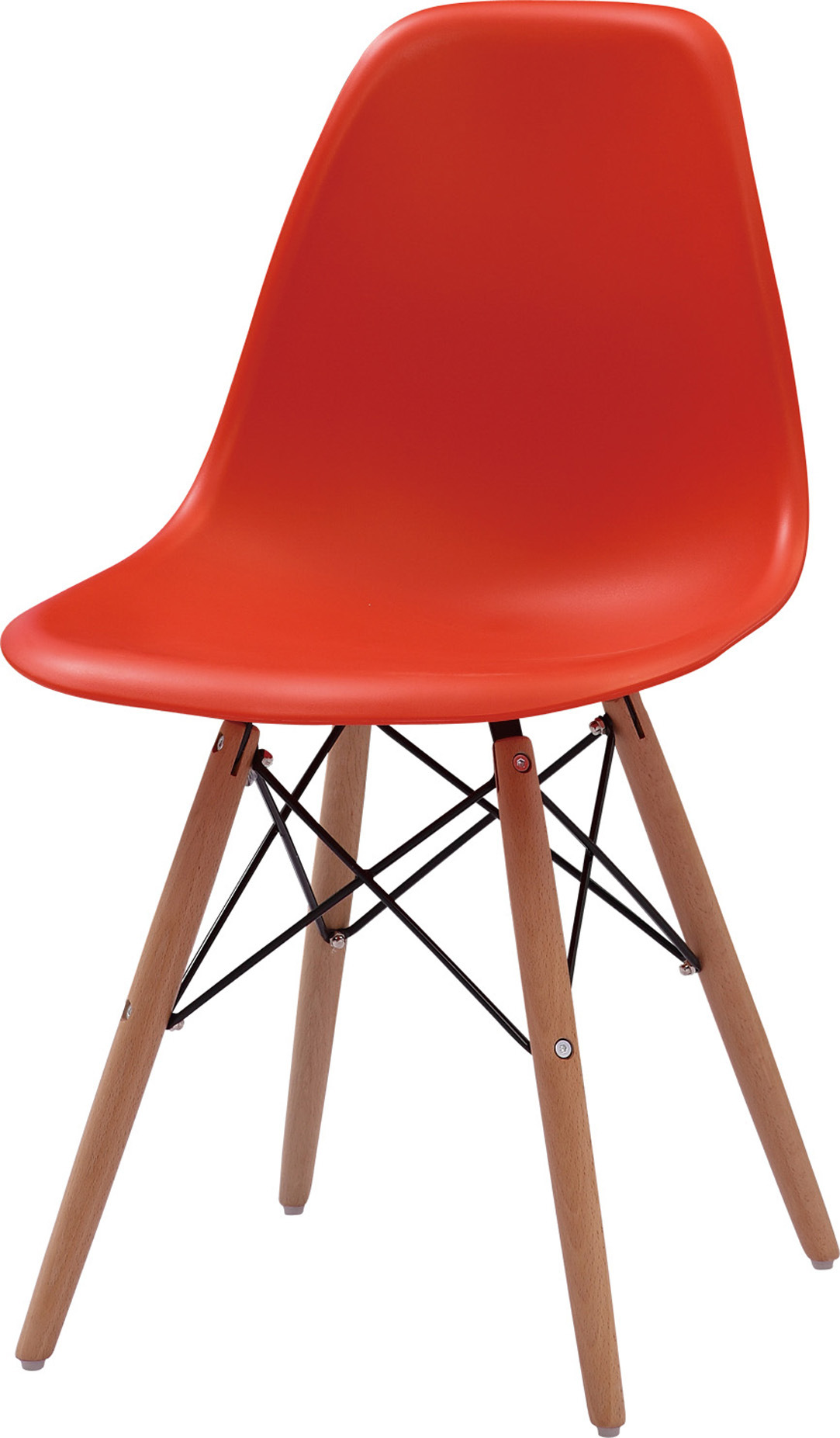 Wholesale Plastic Dining Chair with Wooden Legs (FOH-BCC07)