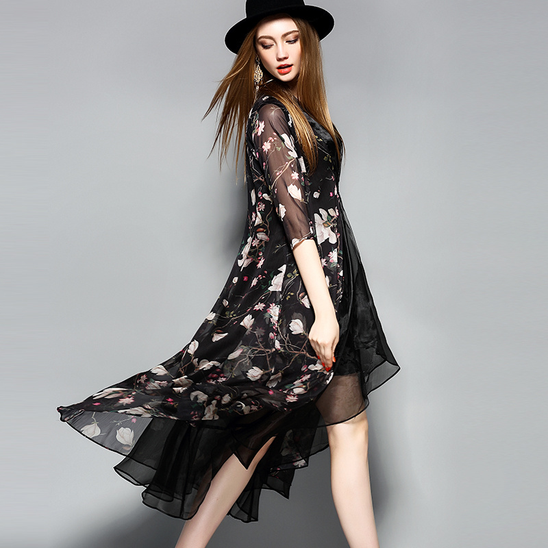 Black Knee Length Floal Printed Lace-up Women Dress
