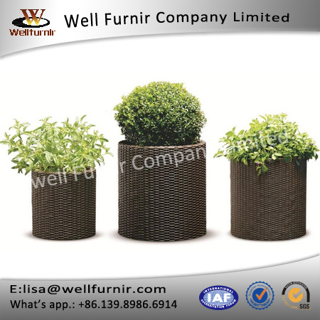 Well Furnir T-024 3 Piece Polypropylene Resin Rattan Pot Planter Set