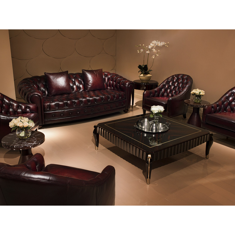 China classic antique chesterfield red leather sofa a4 American classic furniture company