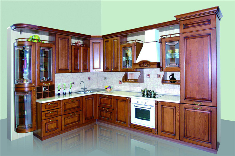 American Style Kitchen Furniture Solid Wood Maple Kitchen Cabinet (Hy081)