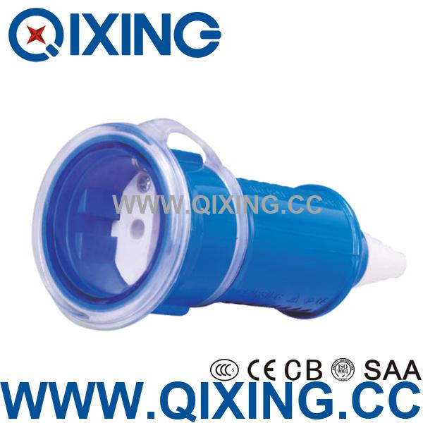 Qixing IEC 603 Plastic 16AMP 220-250V Blue Schuko Connector