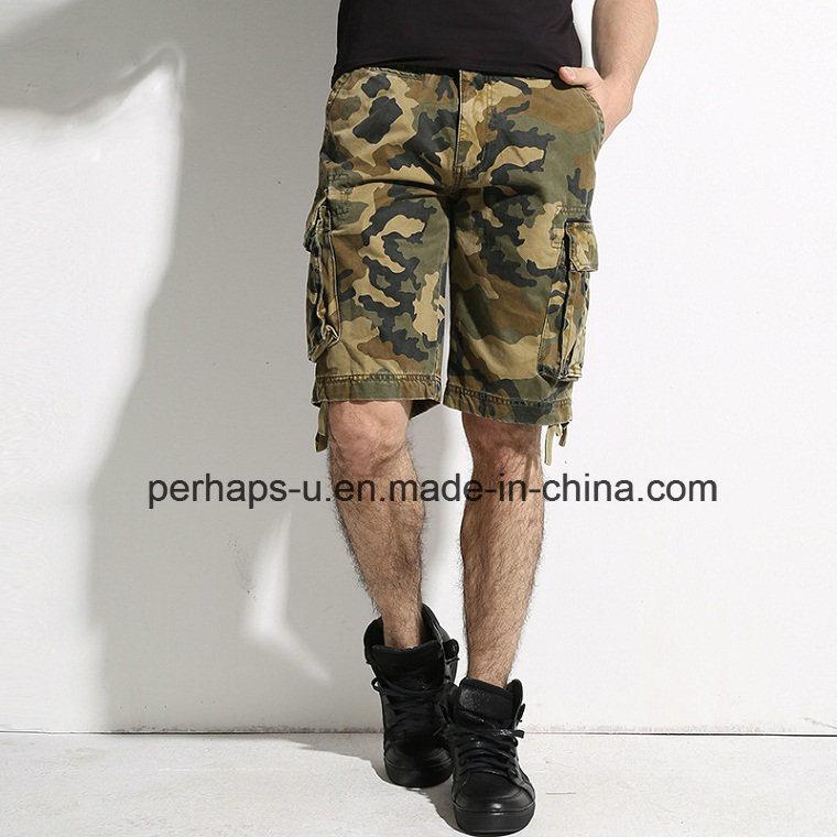 Cool Mens Camo Print Cotton Cargo Shorts
