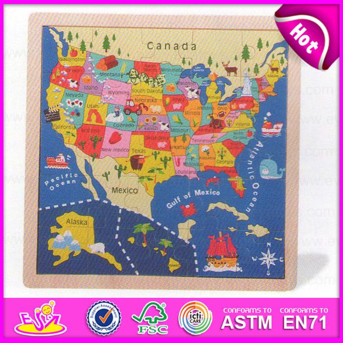 China W2015 Wooden Montessori Kids Map Jigsaw Puzzle Educational
