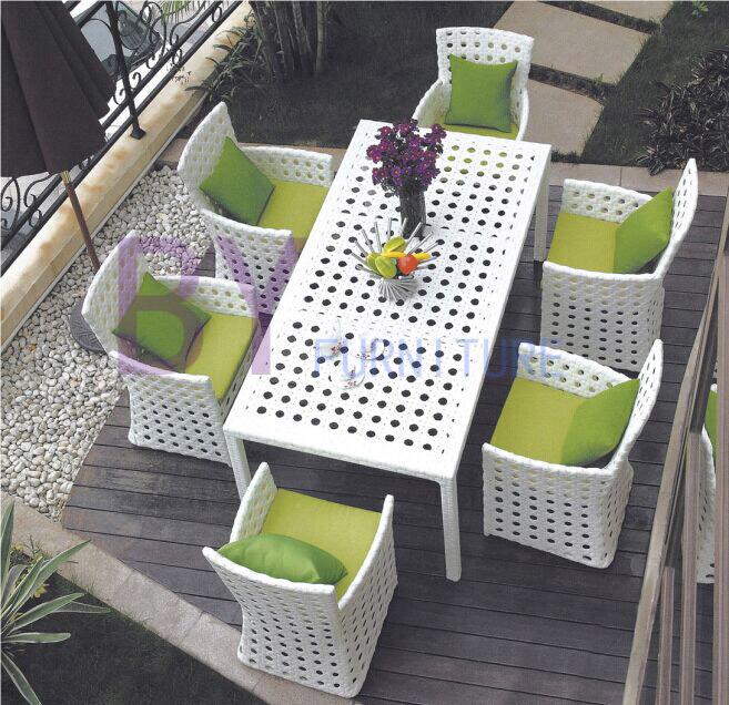 7 PCS Dining Room Outdoor Garden Patio PE Rattan Furniture