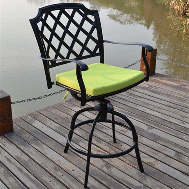 Design Popular Garden Dining Cast Aluminum Bistro Set with Rotatable Chair