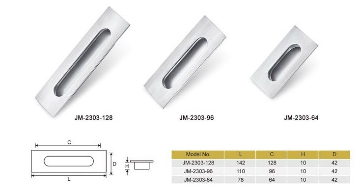 Stainless Steel Concealed Furniture or Cabinet Handle, Door Handle