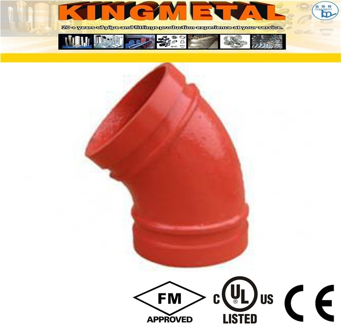 300 Psi Ductile Iron 45 Degree Grooved Elbow Fittings