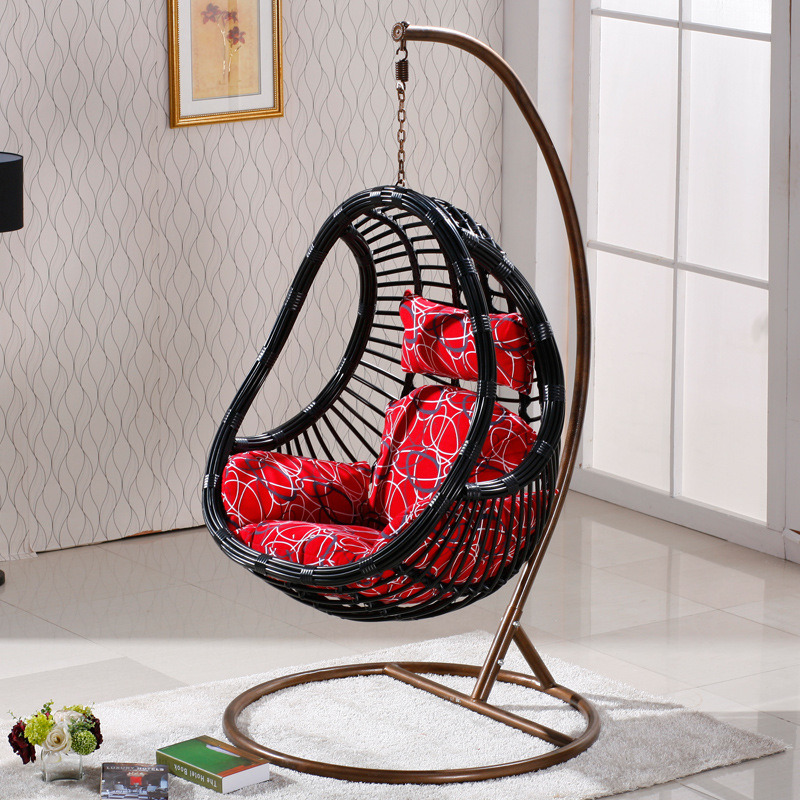 Outdoor Garden Iron PE Rattan Hanging Basket
