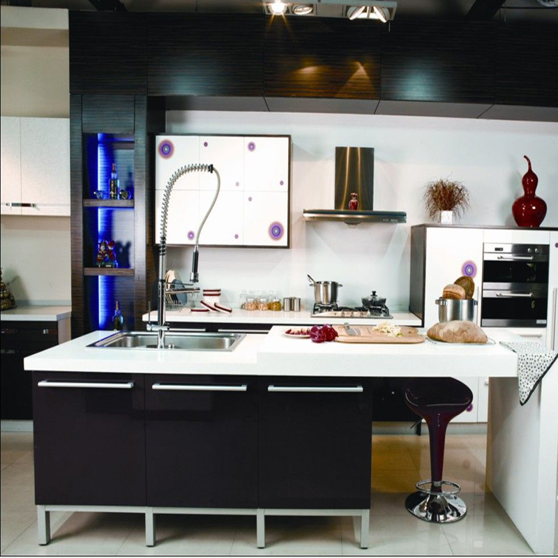 MDF High Glossy Black Colour Painted Kitchen Cabinets with Island Cabinet