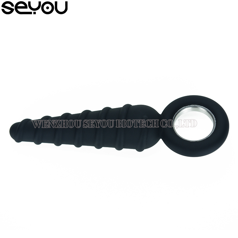 Anal Plug with Steel Loop Stimulator Butt Enlargement Butt Plug Vibrator Anal Dildo for Unisex